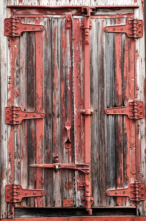 Train, Cargo Car, Antique, Cars, Wooden, Red, Door