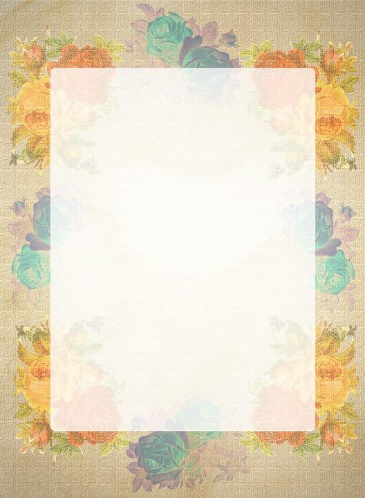 Stationery, Roses, Retro, Antique, Floral, Orange, Blue