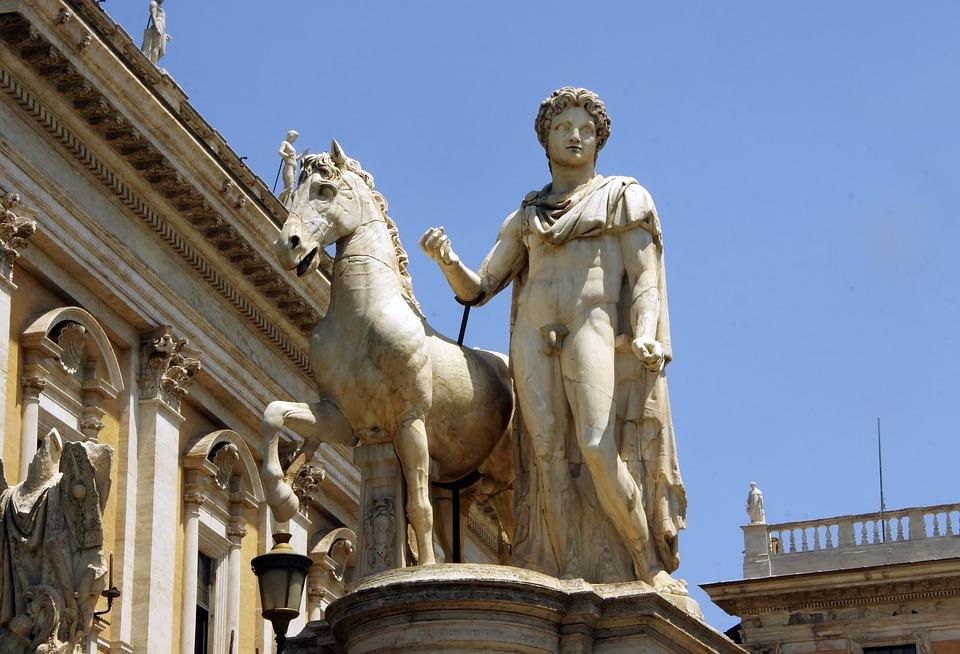 Rome, Statue, Jumper, Horse, Marble, Antique