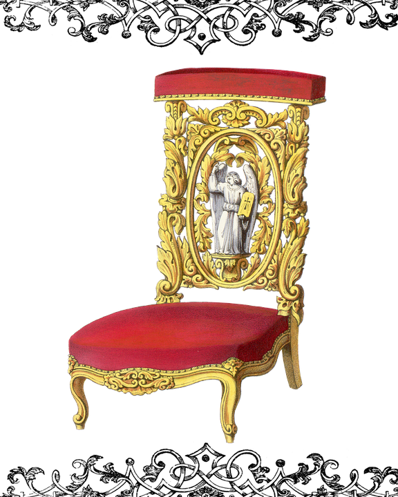Chair, Vintage, Antique, Gold, Red, Velvet, Royal