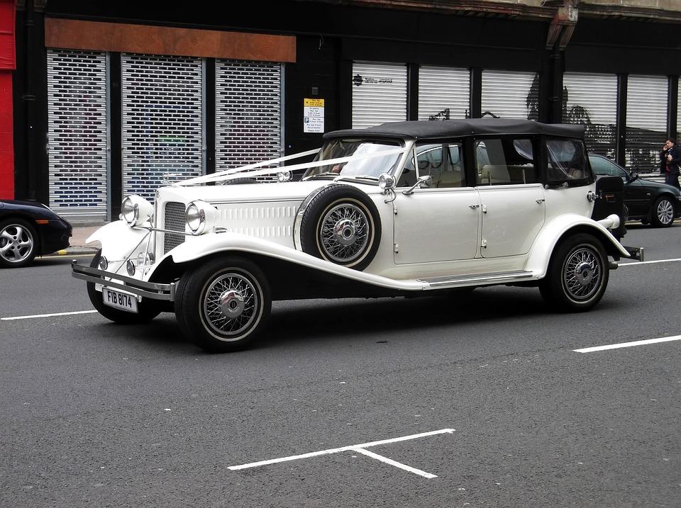 Car, Antique, Vintage, White, Chrome, Ribbon, Wheel