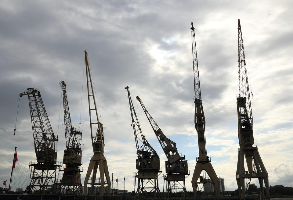 Belgium, Antwerp, Harbor, Cranes, Schelde, Lifting