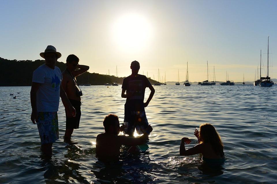 Friends, Sunset, Beach, Aperitif, Horizon, Sand, Sun