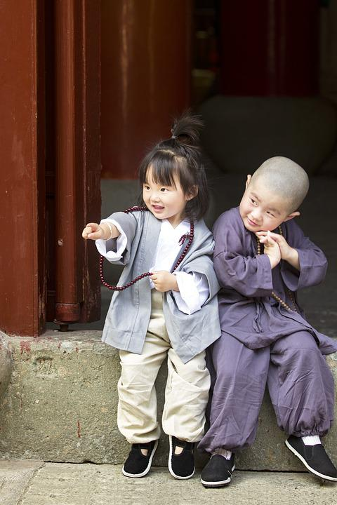 Boa And Girls, Portrait, Appeal, Monk, Kids, Asia, Cute