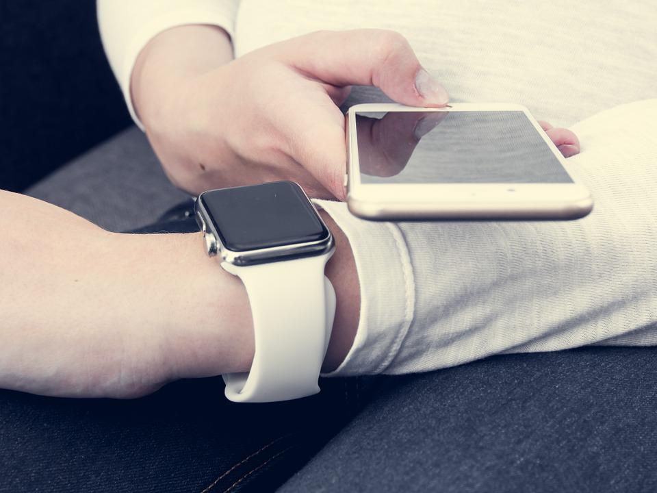 Iphone, 6s, Plus, Iwatch, Apple, White, Screen, Mock