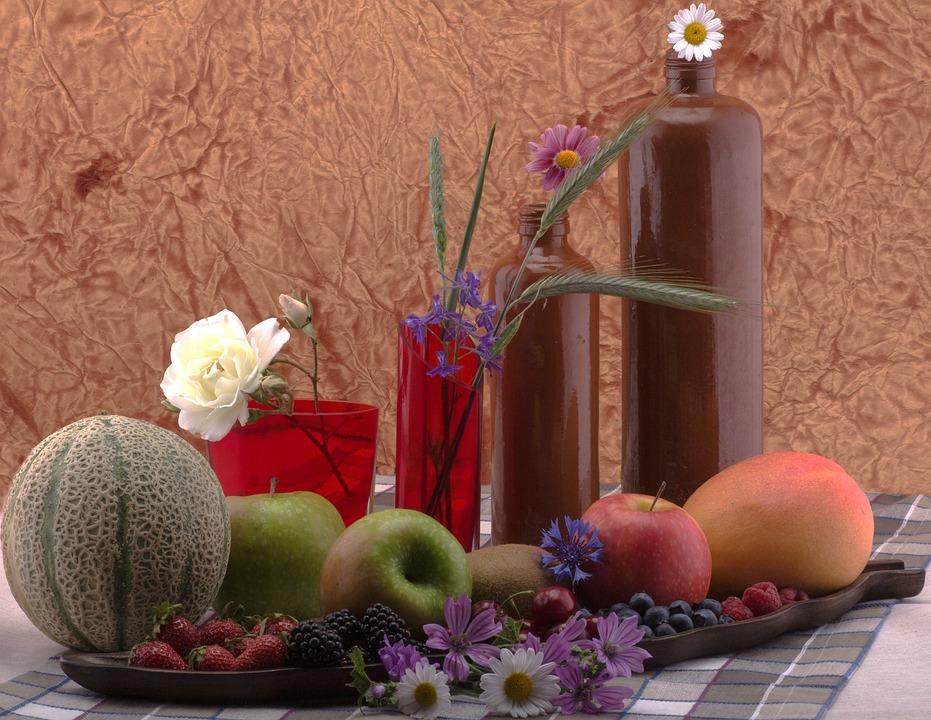 Still Life, Fruit, Flowers, Bottles, Apple, Melon