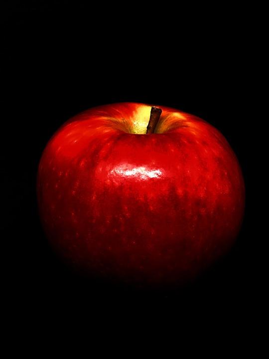 Apple, Red, Black Background, Red Apple, Fruit, Fresh