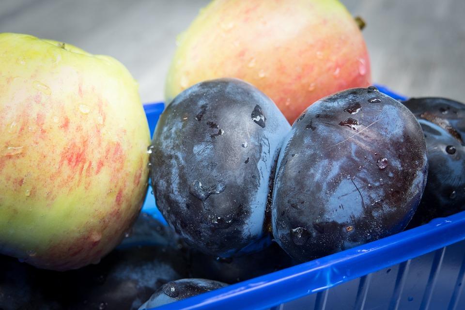 Plums, Apple, Fruit, Fruit Bowl, Twins, Fruits, Food