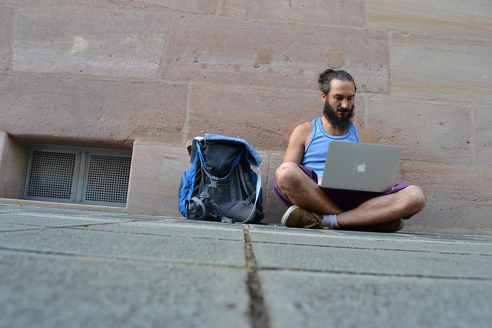Freelancer, Street Work, Apple, Laptop, Macbook Pro