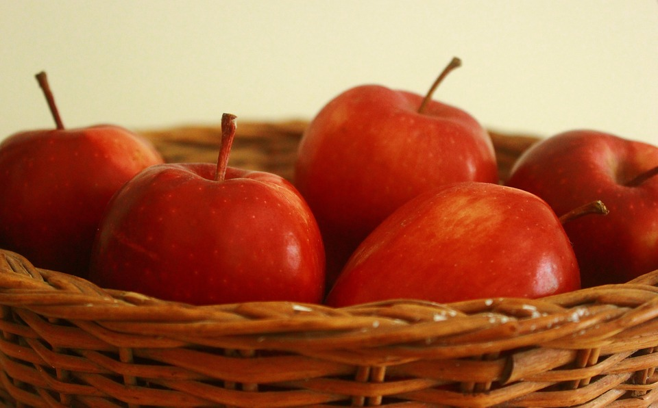 Apple, Basket, Red, Fruit
