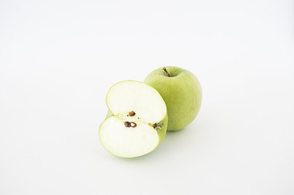Apples, Sliced, Isolated, Green, Food, Healthy, White
