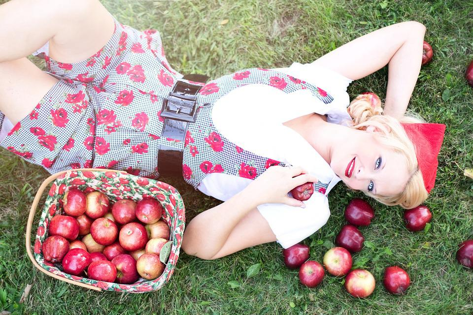 Apples, Woman, Pretty, Fall, Autumn