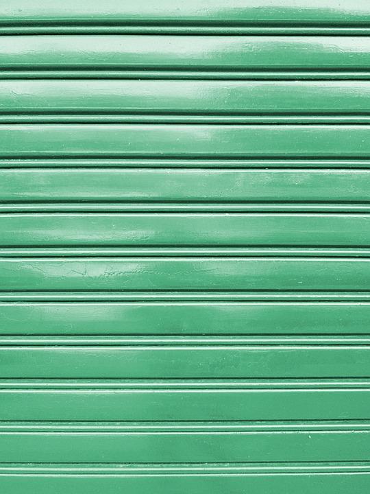 Metal, Shutter, Green, Aqua, Closed, Door, Exterior