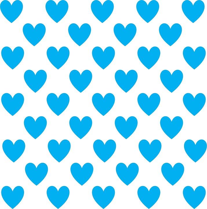 Aqua, Turquoise, Blue, White, Heart, Design, Pattern