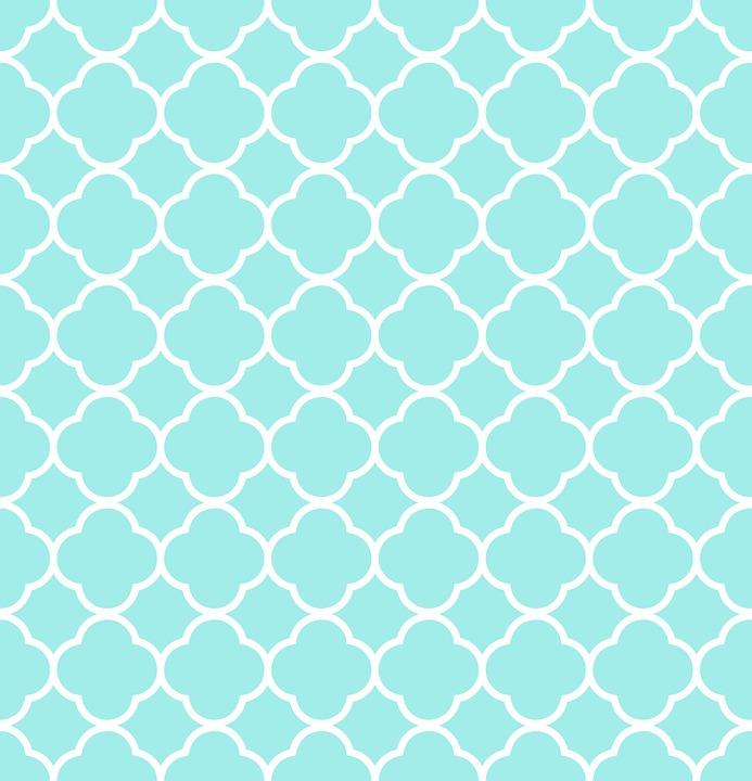 Quatrefoil, Pattern, Blue, White, Aqua, Design