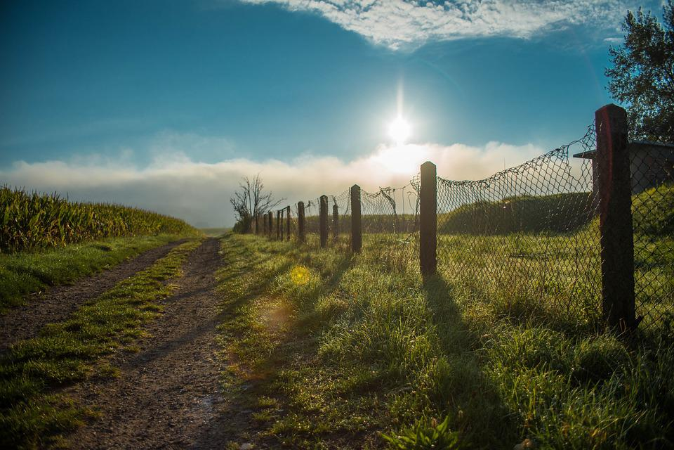 Away, Road, Lane, Arable, Field, Fence, Pillar, Sun