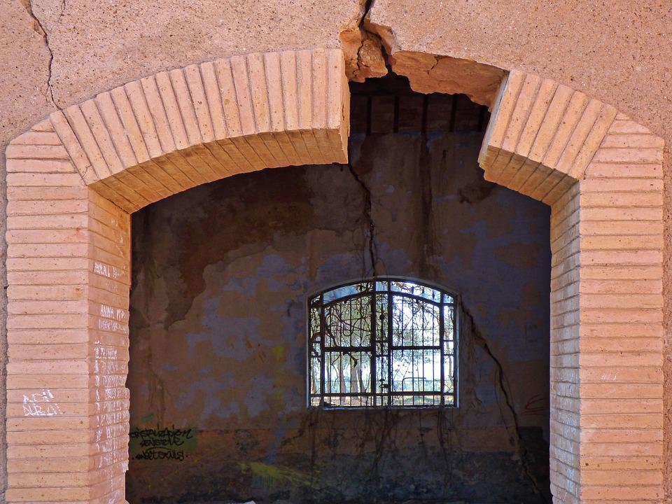 Door, Arc, Brick, Ruin, Abandoned, Cracks