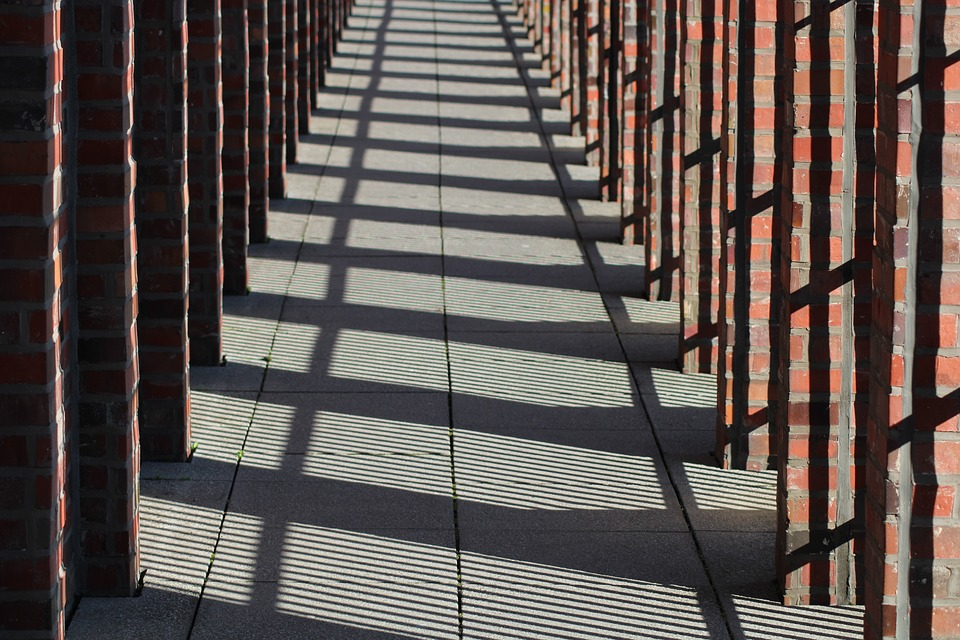 Free photo Arcade Shadow Sun Building Light Berlin Columnar