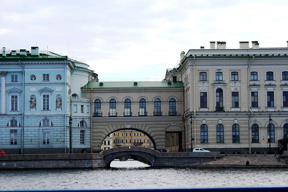 Neva, River, Adjoined Buildings, Arched, Adjacent Road