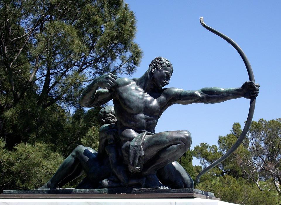 Archer, Bronze, Sta, Statue, Arrow, Bow, Warrior, Man