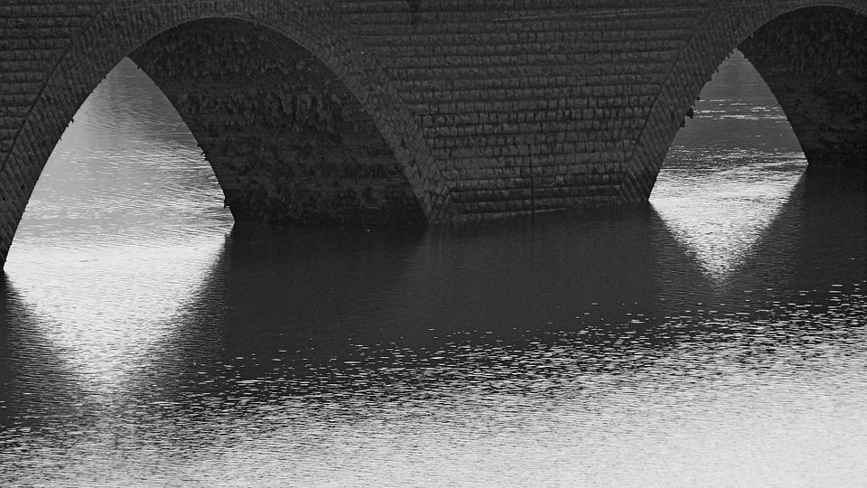 Bridges, Arches, Lake, Reflections, Contrast