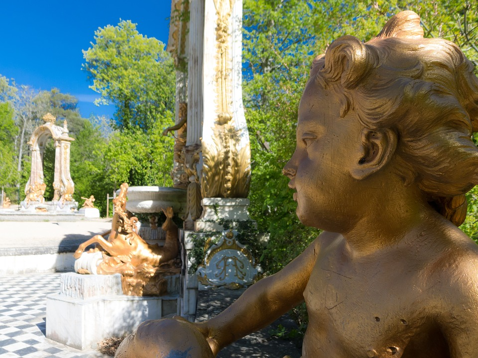 Angel, Statue, Palace, Garden, Architecture, Madrid