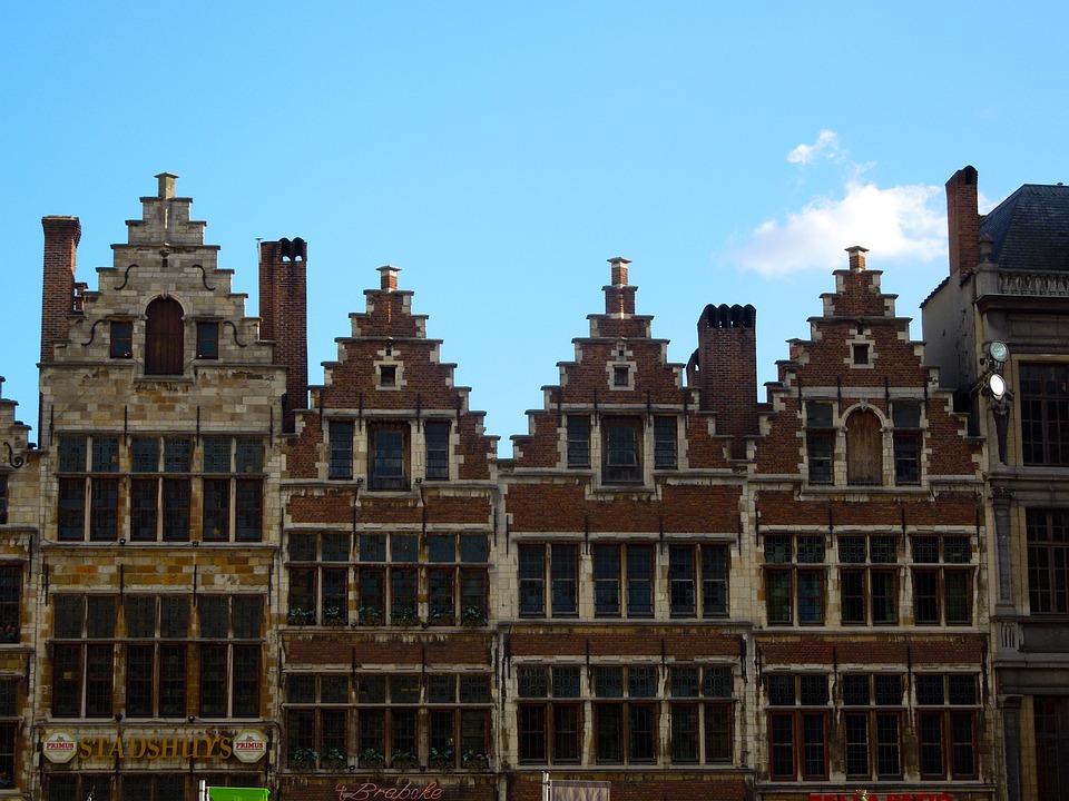 Antwerp, Belgium, Facades, Bricks, Architecture