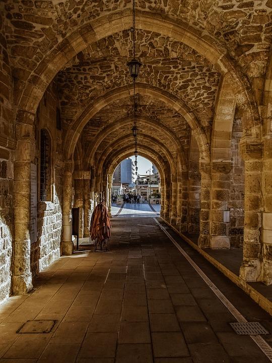 Arcade, Stoa, Architecture, Stone, Columns, Church