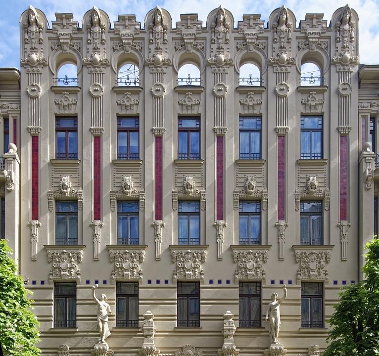 Latvia, Riga, Neustadt, Art Nouveau, Architecture