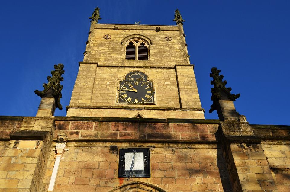 Church, Sundial, Clock, Background, Architecture