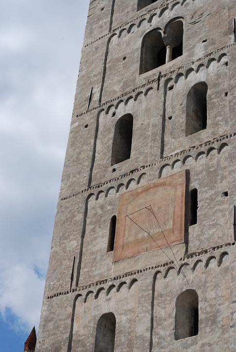 Medieval, Architecture, Italy, Bell Tower, Sundial
