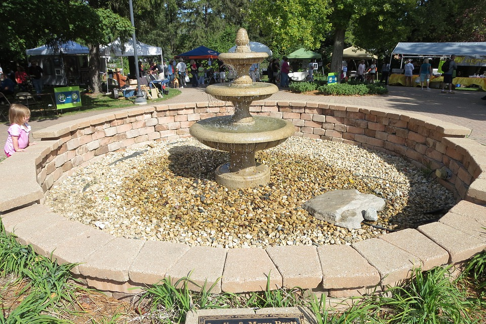 Water Fountain, Brick, Water Feature, Architecture