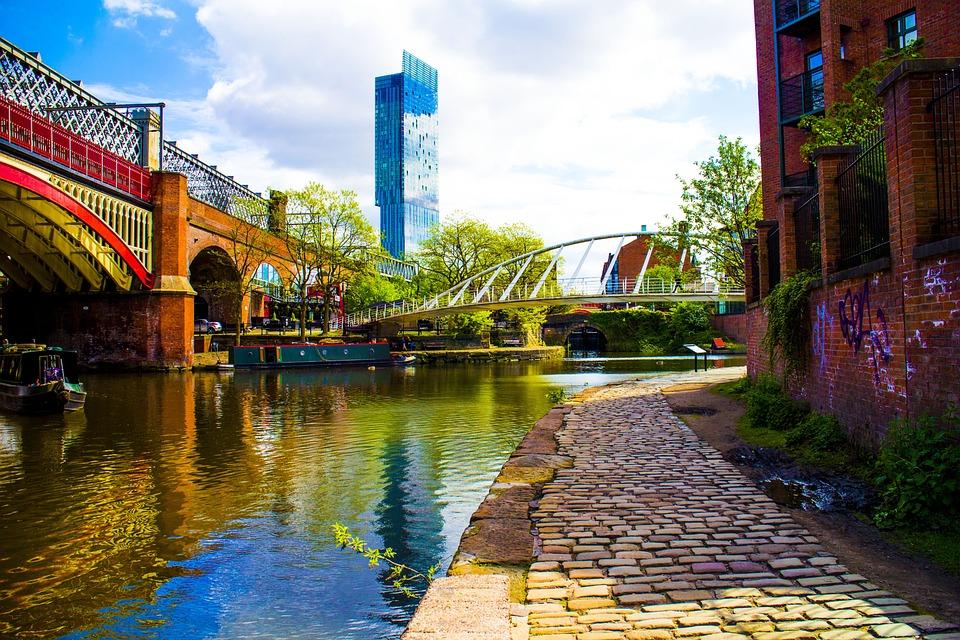 Manchester, Canal, Uk, Architecture, England, Bridge