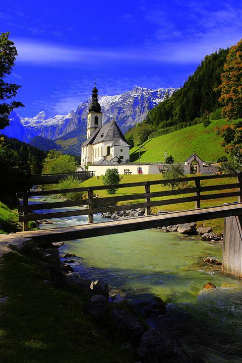 Bach, Church, Motif, Architecture, Water, Building