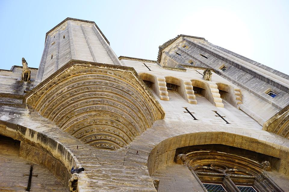 Palais Des Papes, Building, Architecture, Corner Tower