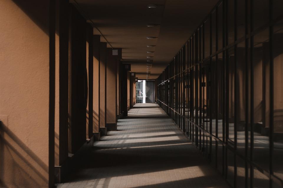 Corridor, Building, Shadows, Architecture, Light