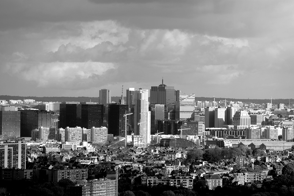 Brussels, Architecture, Black And White, Buildings