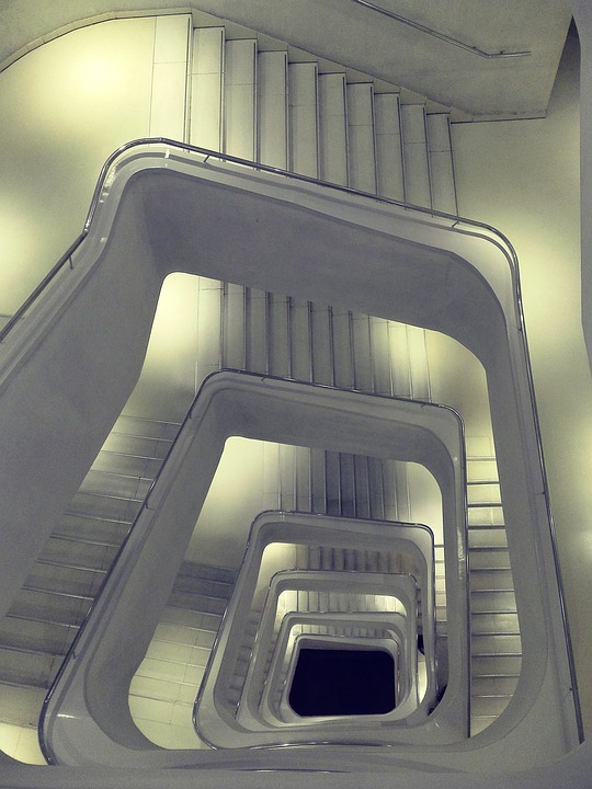 Stairs, Architecture, White, Caixaforum, Building, City