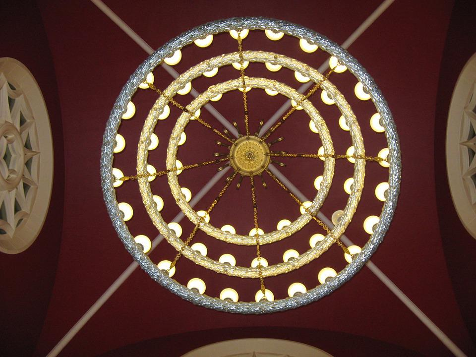 Chandelier, Palace Of Culture, Light, Architecture