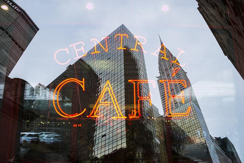 Architecture, Buildings, Café, City, Light, Neon Sign