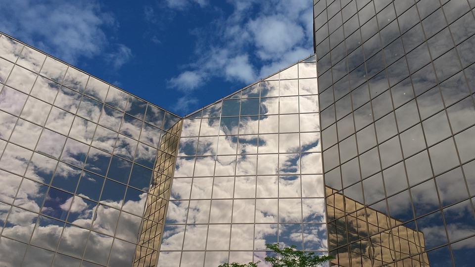 Architecture, Building, Clouds, Modern, Blue, Corporate