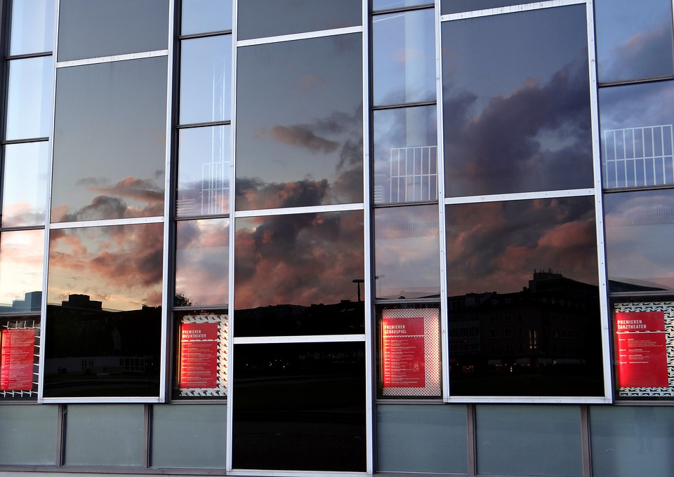 Mirroring, Sky, Clouds, Window, Facade, Architecture