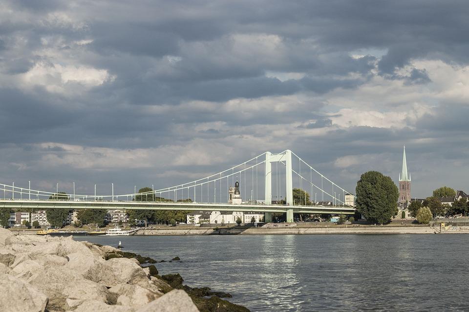 Cologne, Stones, Rhine, Architecture, Water, Nature