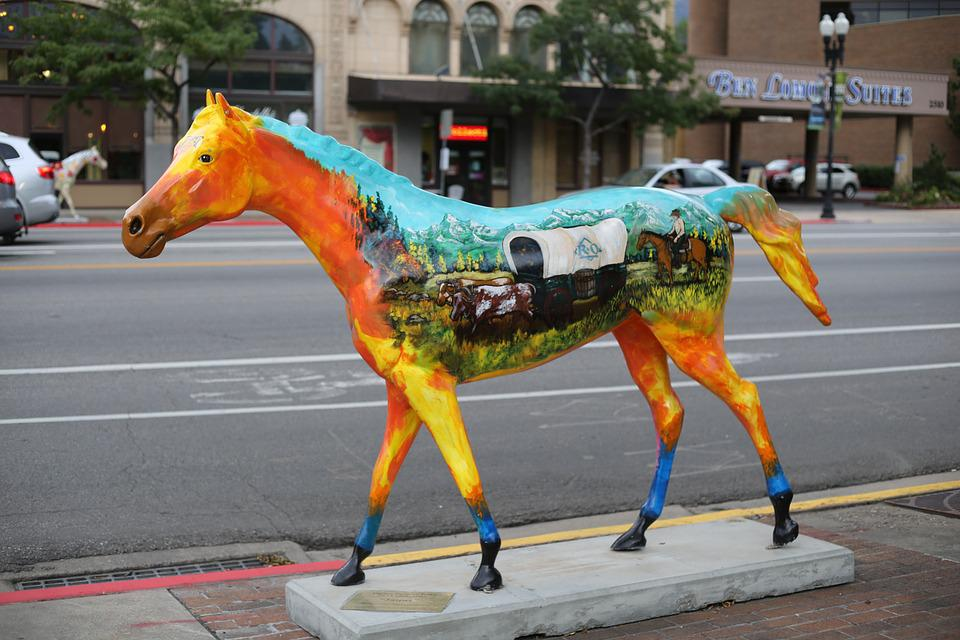 Horse, Colorful, Statue, Art, Sidewalk, Architecture
