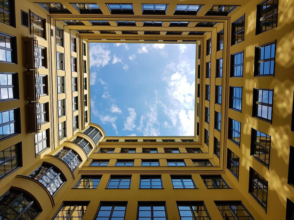 Courtyard, Sky, Building, Architecture, Clouds, Window