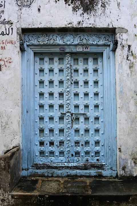 Zanzibar, Door, Blue, Input, Architecture, Stonetown