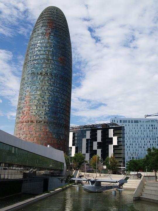 Barcelona, Spain, Blue, Architecture, Europe, City