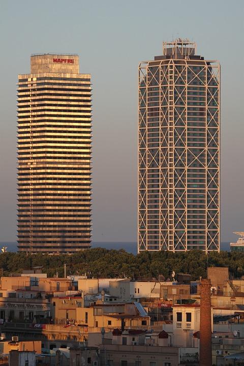 Skyscrapers, Barcelona, Facade, Architecture, City