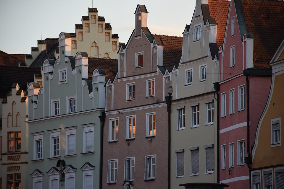 Architecture, Middle Ages, Germany, Landshut, Facades
