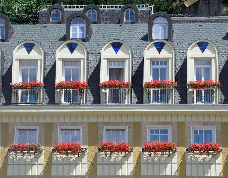 Architecture, Facade, Balconies, Flowers, Hotel